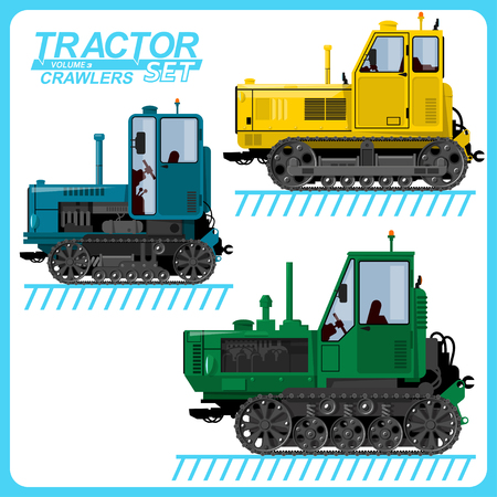 Several images of tractors, located on separate layers, for use in various purposes. Banco de Imagens - 117175390