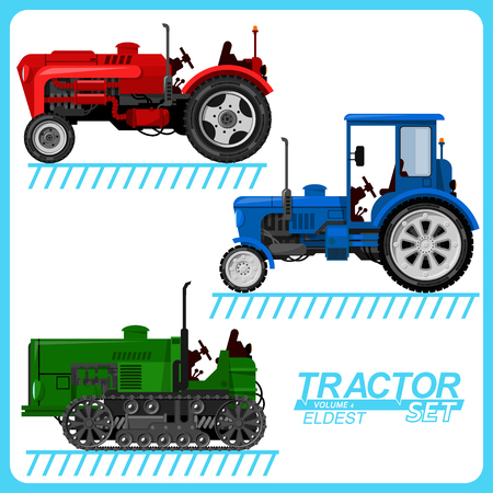 Several images of tractors, located on separate layers, for use in various purposes.