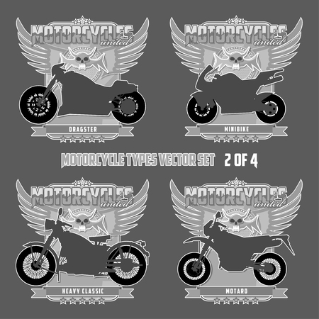 Types of motorcycles in silhouettes Motorcycles are located on separate layers. Banco de Imagens - 117175406
