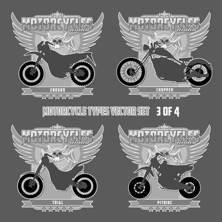 Types of motorcycles in silhouettes Motorcycles are located on separate layers. Banco de Imagens - 117175407