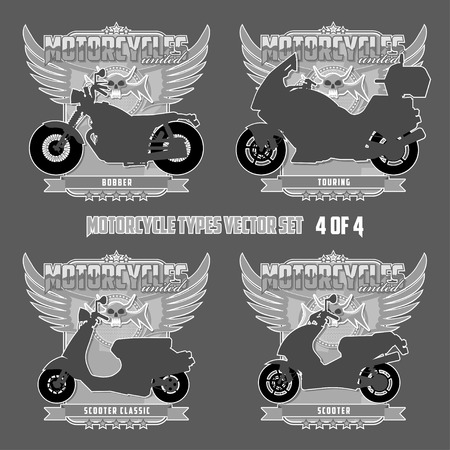 Types of motorcycles in silhouettes Motorcycles are located on separate layers.