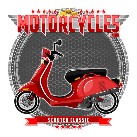 Motorcycle of a certain type, on a symbolic background. Motorcycle text and background are located on separate layers. Ilustração