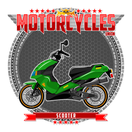 Motorcycle of a certain type, on a symbolic background. Motorcycle text and background are located on separate layers. Banco de Imagens - 117175419