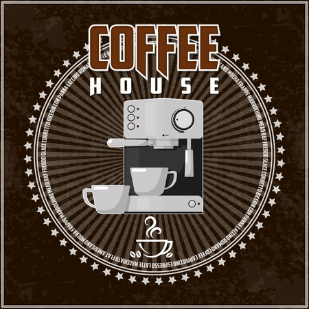 Coffee theme illustration. All elements are located on separate layers and easily manipulated. Banco de Imagens - 117175425
