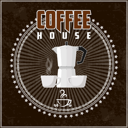 Coffee theme illustration. All elements are located on separate layers and easily manipulated.