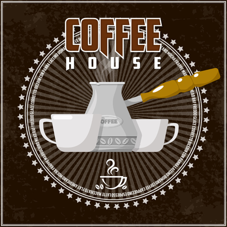 Coffee theme illustration. All elements are located on separate layers and easily manipulated. Banco de Imagens - 117175428