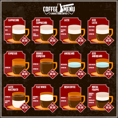 Coffee theme illustration. All elements are located on separate layers and easily manipulated. Banco de Imagens - 117175429