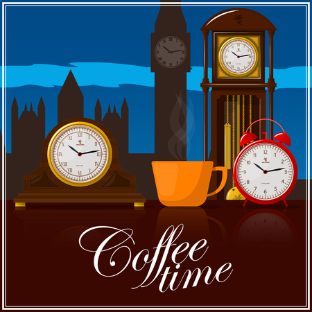 Coffee time theme illustration. For decoration, print or advertising.