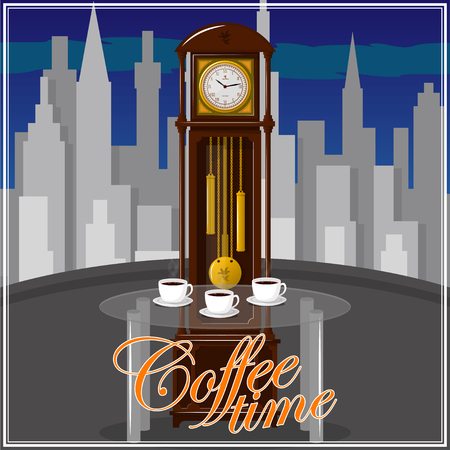 Coffee time theme illustration. For decoration, print or advertising. Banco de Imagens - 117175442