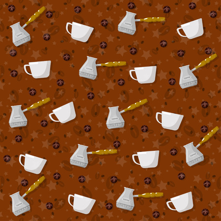 Coffee theme seamless patterns. For decoration, print, wrapping paper or advertising. Banco de Imagens - 117175447