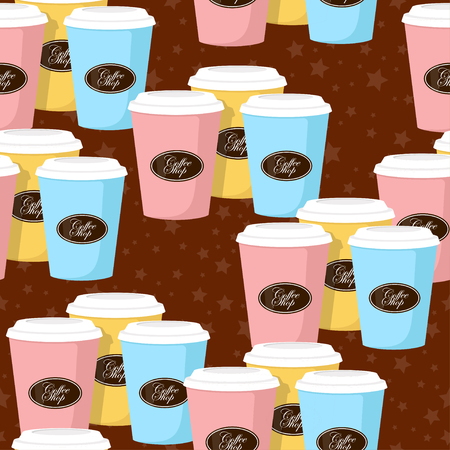 Coffee theme seamless patterns. For decoration, print, wrapping paper or advertising.