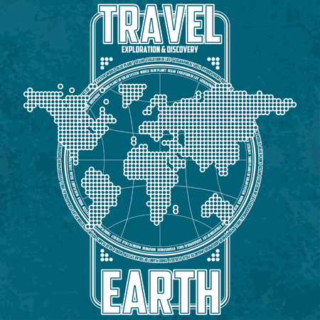 Travel, exploration and discovery Earth. Stylized continents on the background of the globe. All elements located on separate layers. Cracks and abrasions can be disabled.