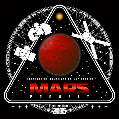 Mission to mars vector logo. Mars planet, space, sun and stars. For decoration, print or advertising. 向量圖像