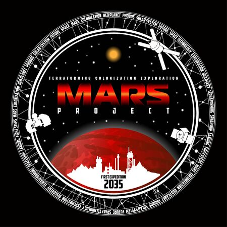Mission to mars vector logo. Mars planet, space, sun and stars. For decoration, print or advertising. Banco de Imagens - 134261750