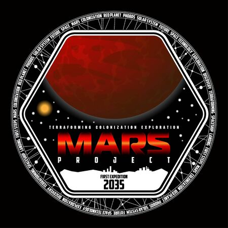 Mission to mars vector logo. Mars planet, space, sun and stars. For decoration, print or advertising. Ilustração