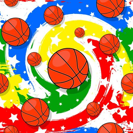 The seamless pattern on the basketball theme. Banco de Imagens - 135391776
