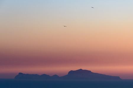Capri at sunset Stock Photo