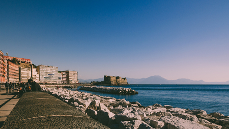 Waterfront of Naples with a view of Castel dell'ovo