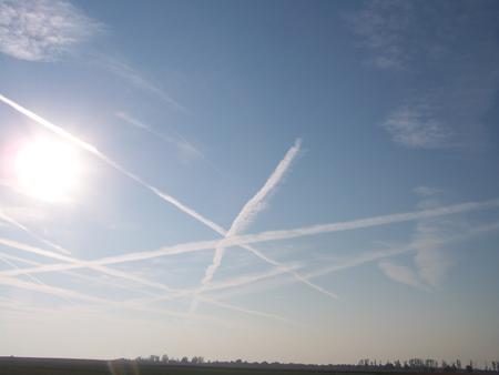 crossing: Airways crossing on the sky Stock Photo