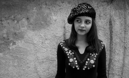 beautiful teen: Beautiful teen girl with a beret black and white portrait Stock Photo