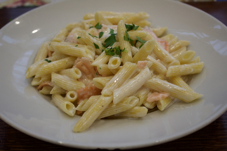 freshly cooked: Freshly cooked pasta with smoked salmon and cheese.