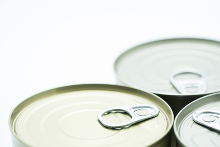 can with ring pull on white background.Packaging collection. Stock Photo