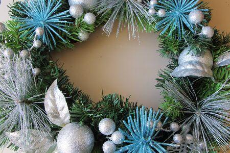 silvery: Silvery Christmas balls on a Christmas wreath