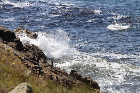 Waves crushing on the coast of Brittany