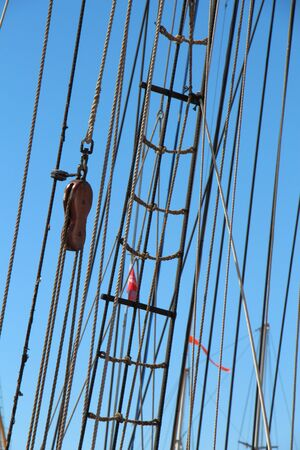 Shroud and rope ladder of a sailboat
