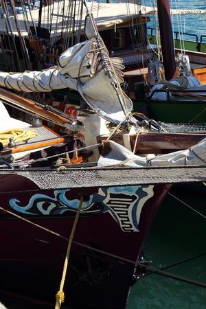 shroud: Bow of a sailboat Stock Photo