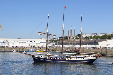 topsail: BREST, FRANCE - JULY 18: the topsail Regina Maris during the maritime festivals Brest 2016, july 18, 2016