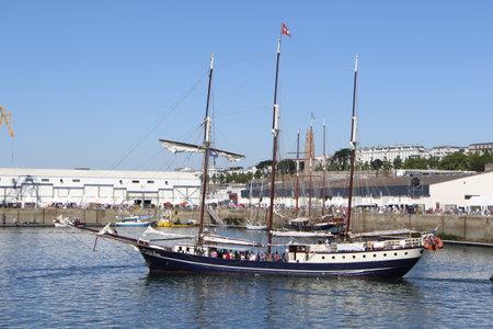 BREST, FRANCE - JULY 18: the topsail Regina Maris during the maritime festivals Brest 2016, july 18, 2016
