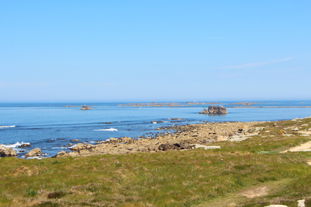 Coast at low tide in Landunvez during a sunny summer day