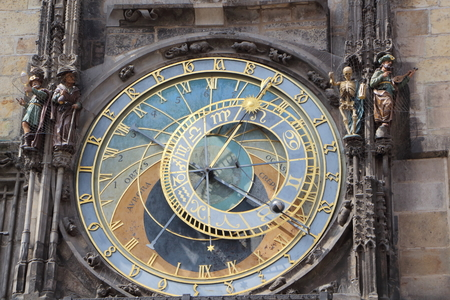 Close-up of astronomical clock in the center of Prague Stock Photo
