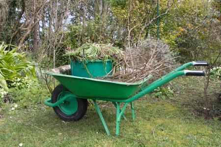 Carriola e secchio pieni di rifiuti da giardino dopo aver pulito un giardino all'inizio della primavera