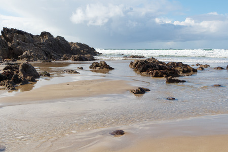 Coast in Brittany at low tide Imagens