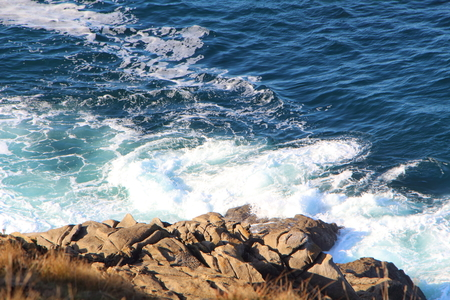 Waves crushing on rocks on the coast of Brittany 写真素材