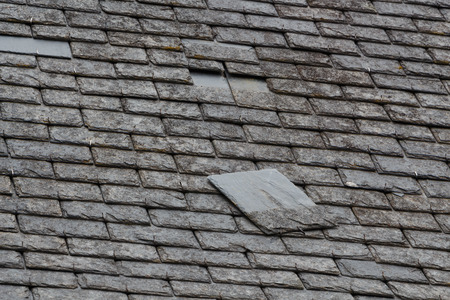 Slate detached from a roof of an house
