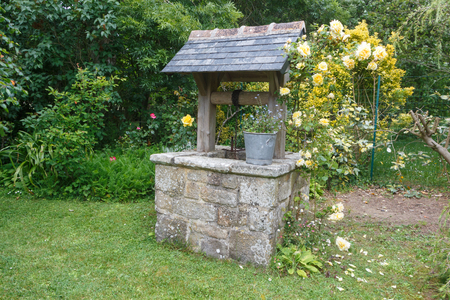 Well made in stone in a garden during spring Banco de Imagens
