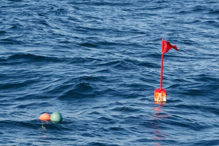 Buoys for lobster pot in the Atlantic ocean in Brittany