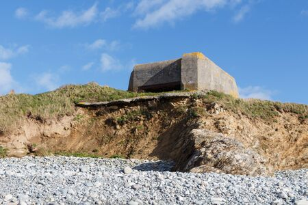 Bunker from world war 2 on the coast in Brittany Stock Photo
