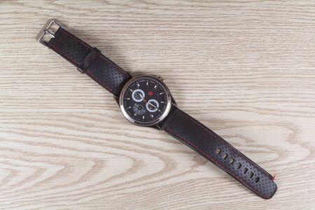 Primelin – France, October 16, 2019 : Modern watch with black strap Imagens