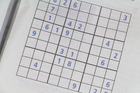 Sudoku game in a newspaper to train your brain