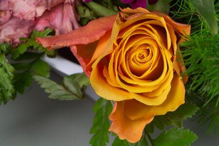 Close-up on orange rose in a flowers arrangement