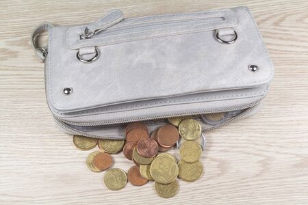 Euros coins take out of a purse on wooden background