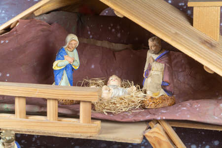 Nativity scene with provencal Christmas crib figures in terracotta