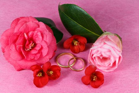 Two wedding rings and red and pink flowers for Valentine's Day 版權商用圖片 - 139497129