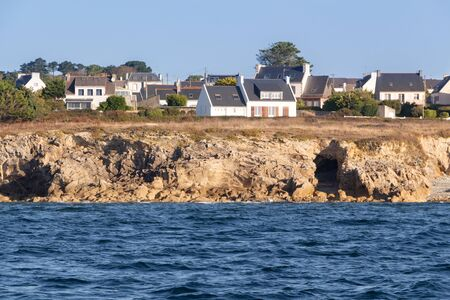 Coast and village in Brittany view from the sea 版權商用圖片
