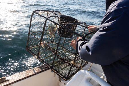 Fisherman bringing back lobster pot in a boat near the cost in Brittany 版權商用圖片