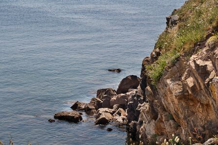 Coast with cliff in Brittany during a sunny day